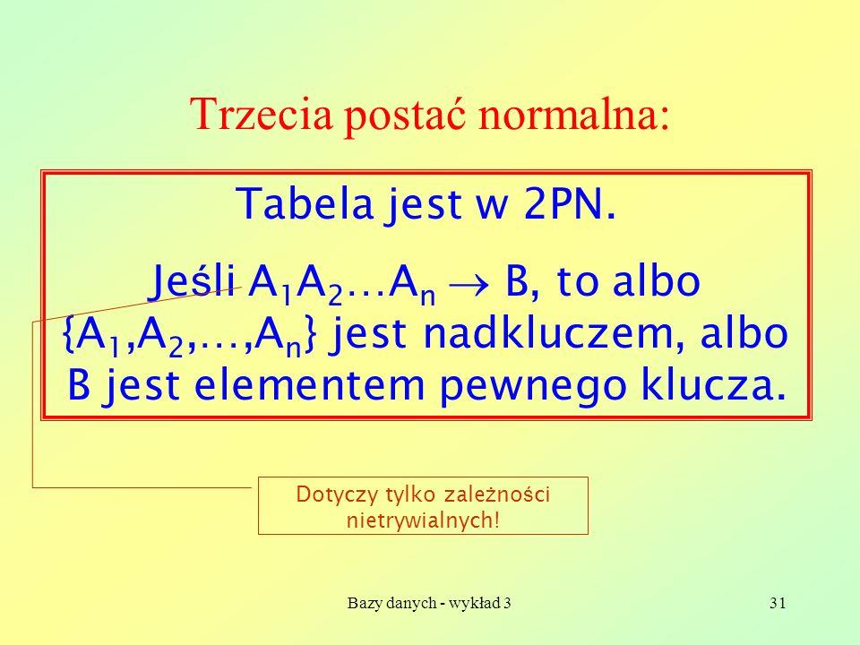 Bazy danych - wykład 331 Trzecia postać normalna: Tabela jest w 2PN. Je ś li A 1 A 2 …A n B, to albo {A 1,A 2,…,A n } jest nadkluczem, albo B jest ele