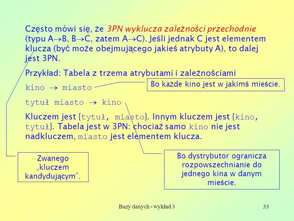 Bazy danych - wykład 333 Cz ę sto mówi si ę, ż e 3PN wyklucza zale ż no ś ci przechodnie (typu A B, B C, zatem A C). Je ś li jednak C jest elementem k