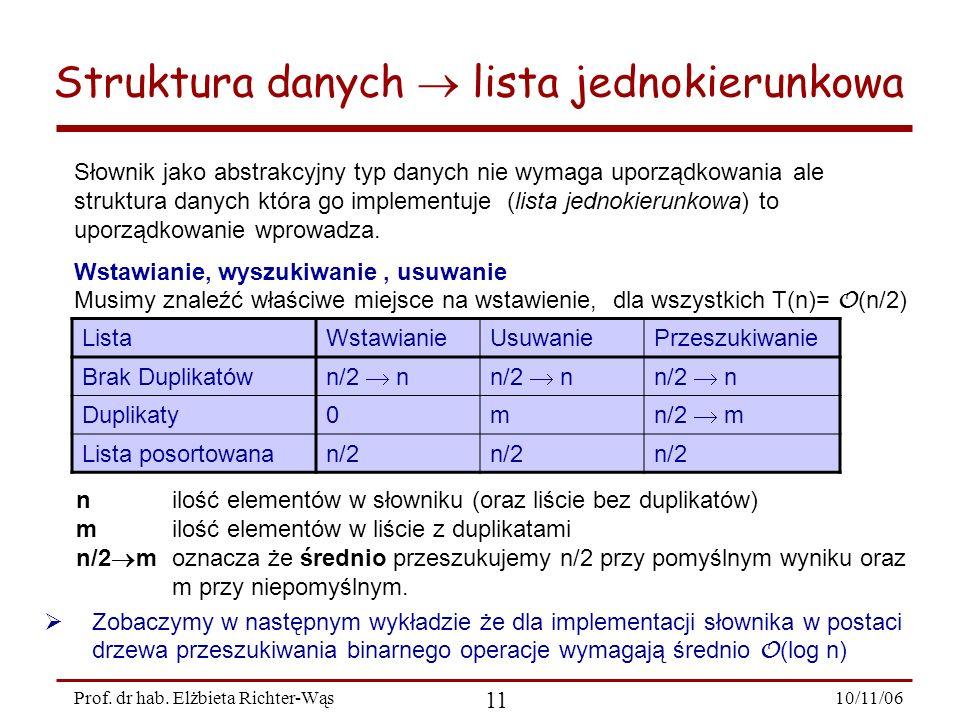 10/11/06 11 Prof. dr hab. Elżbieta Richter-Wąs Słownik jako abstrakcyjny typ danych nie wymaga uporządkowania ale struktura danych która go implementu