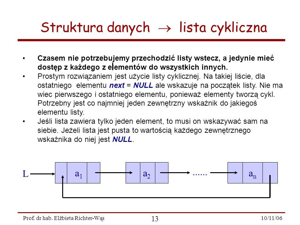 10/11/06 13 Prof. dr hab. Elżbieta Richter-Wąs Struktura danych lista cykliczna Czasem nie potrzebujemy przechodzić listy wstecz, a jedynie mieć dostę