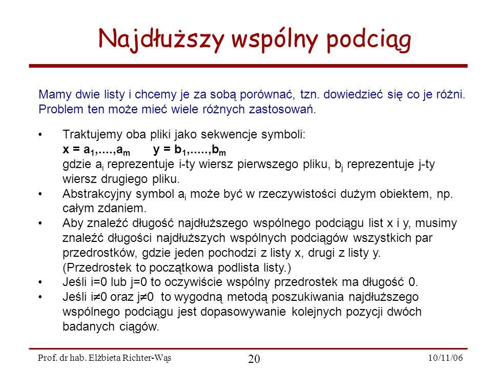 10/11/06 20 Prof. dr hab. Elżbieta Richter-Wąs Najdłuższy wspólny podciąg Mamy dwie listy i chcemy je za sobą porównać, tzn. dowiedzieć się co je różn