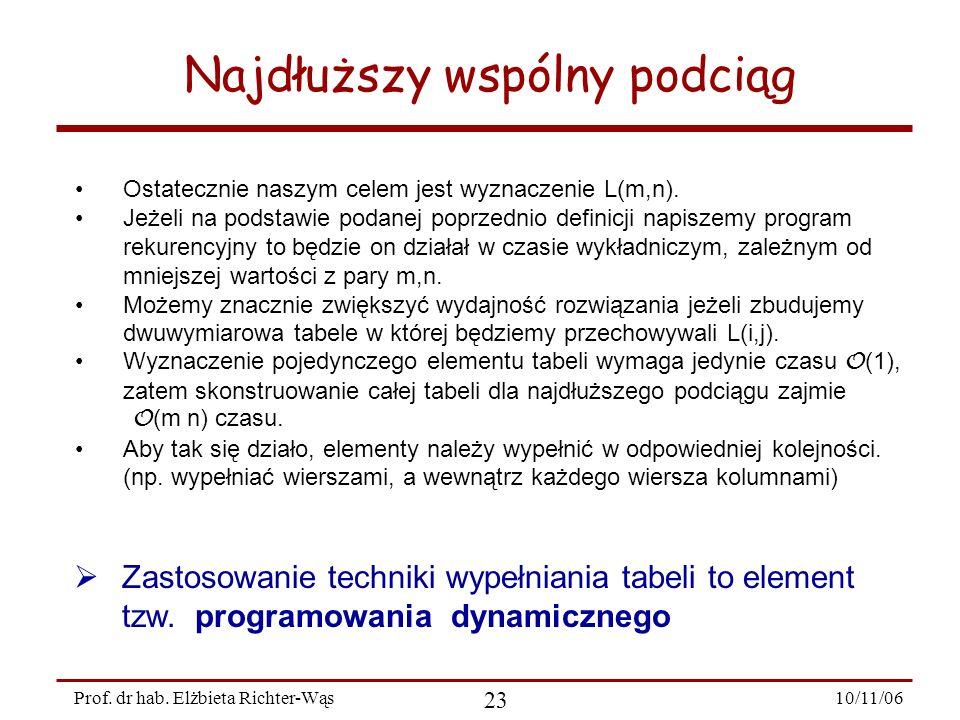 10/11/06 23 Prof. dr hab. Elżbieta Richter-Wąs Ostatecznie naszym celem jest wyznaczenie L(m,n). Jeżeli na podstawie podanej poprzednio definicji napi