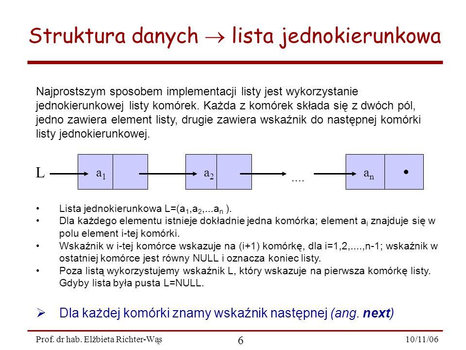 10/11/06 6 Prof. dr hab. Elżbieta Richter-Wąs Struktura danych lista jednokierunkowa Najprostszym sposobem implementacji listy jest wykorzystanie jedn
