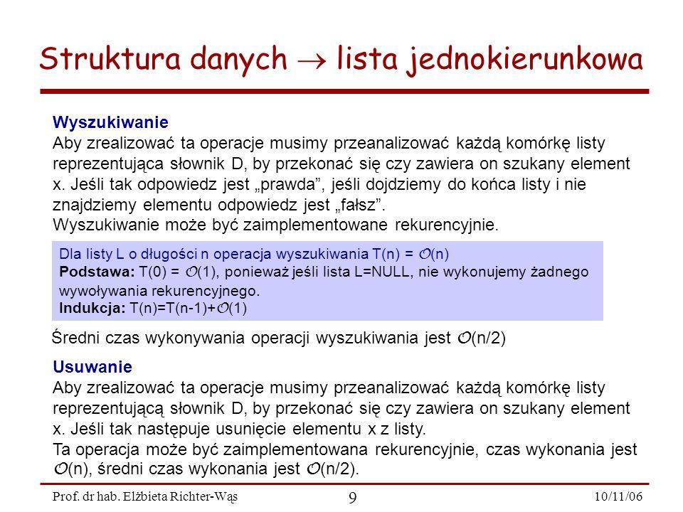 10/11/06 9 Prof. dr hab. Elżbieta Richter-Wąs Wyszukiwanie Aby zrealizować ta operacje musimy przeanalizować każdą komórkę listy reprezentująca słowni