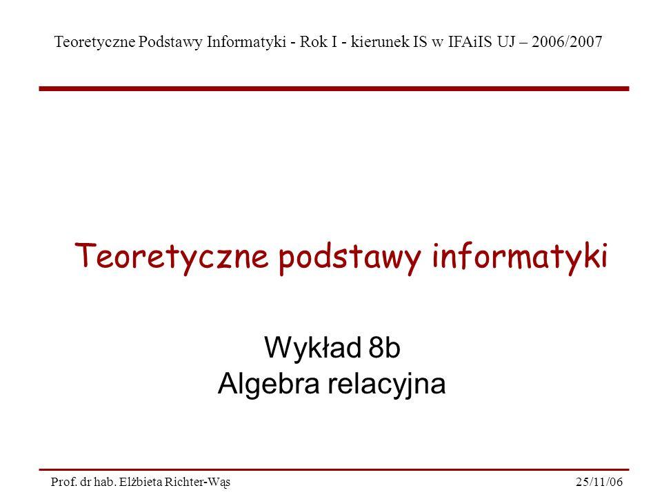 Teoretyczne Podstawy Informatyki - Rok I - kierunek IS w IFAiIS UJ – 2006/2007 25/11/06Prof.