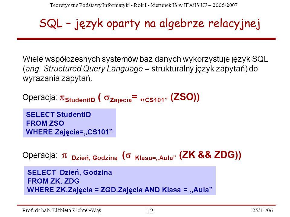 Teoretyczne Podstawy Informatyki - Rok I - kierunek IS w IFAiIS UJ – 2006/2007 25/11/06 12 Prof.