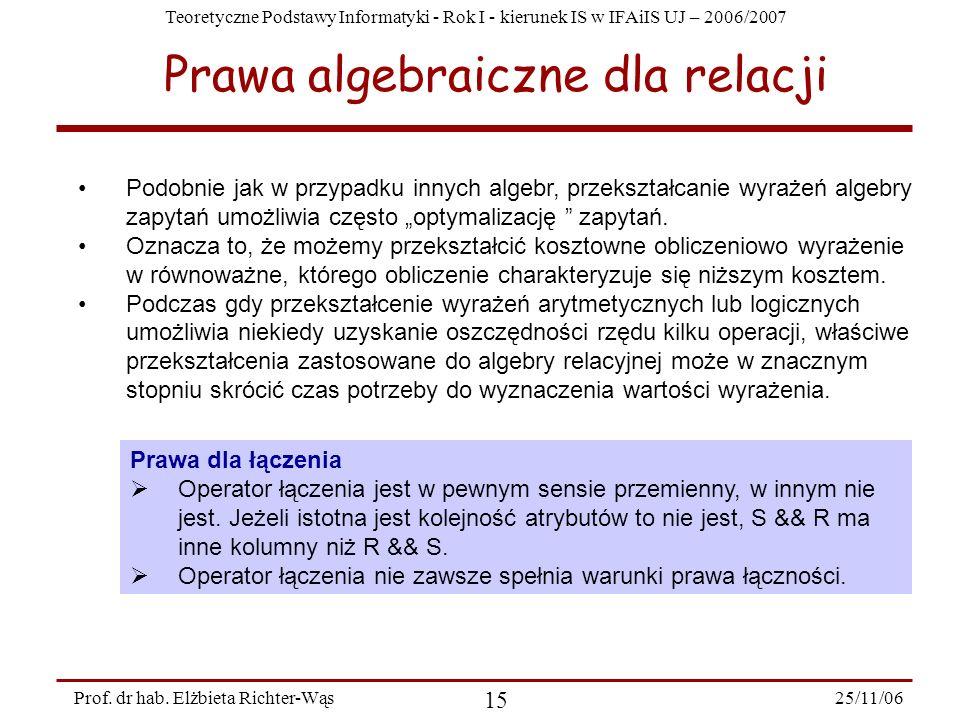 Teoretyczne Podstawy Informatyki - Rok I - kierunek IS w IFAiIS UJ – 2006/2007 25/11/06 15 Prof.