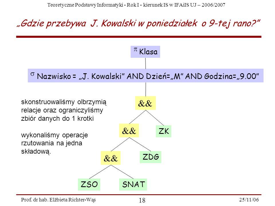 Teoretyczne Podstawy Informatyki - Rok I - kierunek IS w IFAiIS UJ – 2006/2007 25/11/06 18 Prof.