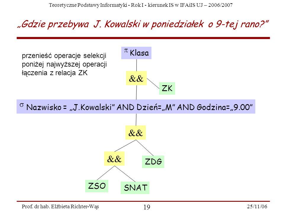 Teoretyczne Podstawy Informatyki - Rok I - kierunek IS w IFAiIS UJ – 2006/2007 25/11/06 19 Prof.