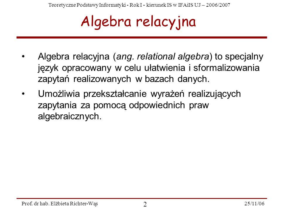 Teoretyczne Podstawy Informatyki - Rok I - kierunek IS w IFAiIS UJ – 2006/2007 25/11/06 2 Prof.