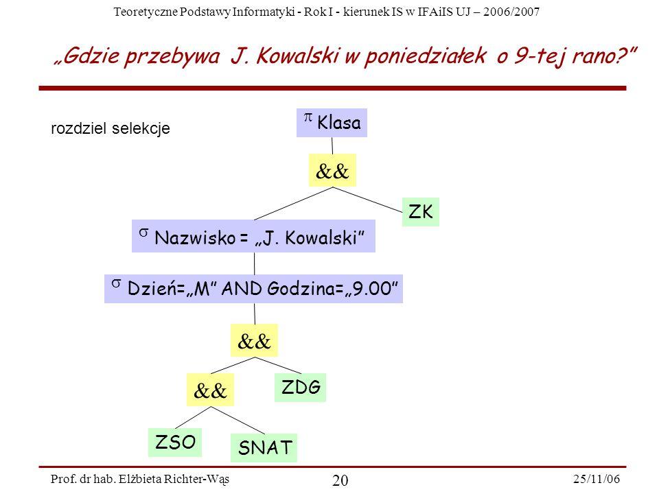 Teoretyczne Podstawy Informatyki - Rok I - kierunek IS w IFAiIS UJ – 2006/2007 25/11/06 20 Prof.