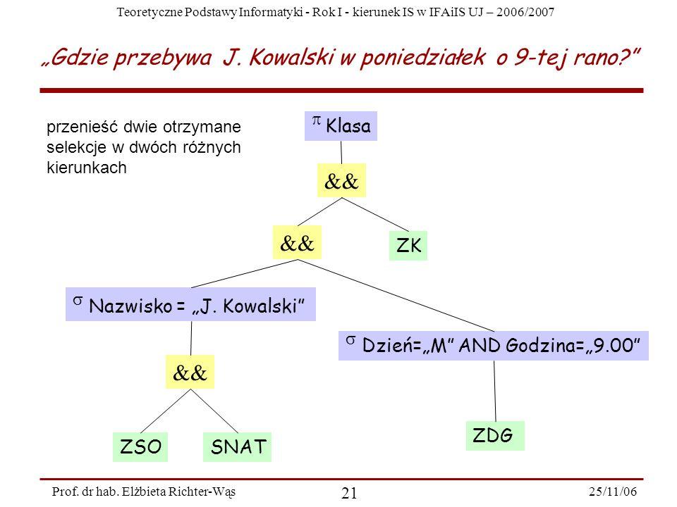 Teoretyczne Podstawy Informatyki - Rok I - kierunek IS w IFAiIS UJ – 2006/2007 25/11/06 21 Prof.