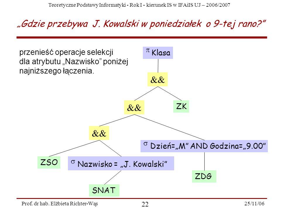 Teoretyczne Podstawy Informatyki - Rok I - kierunek IS w IFAiIS UJ – 2006/2007 25/11/06 22 Prof.