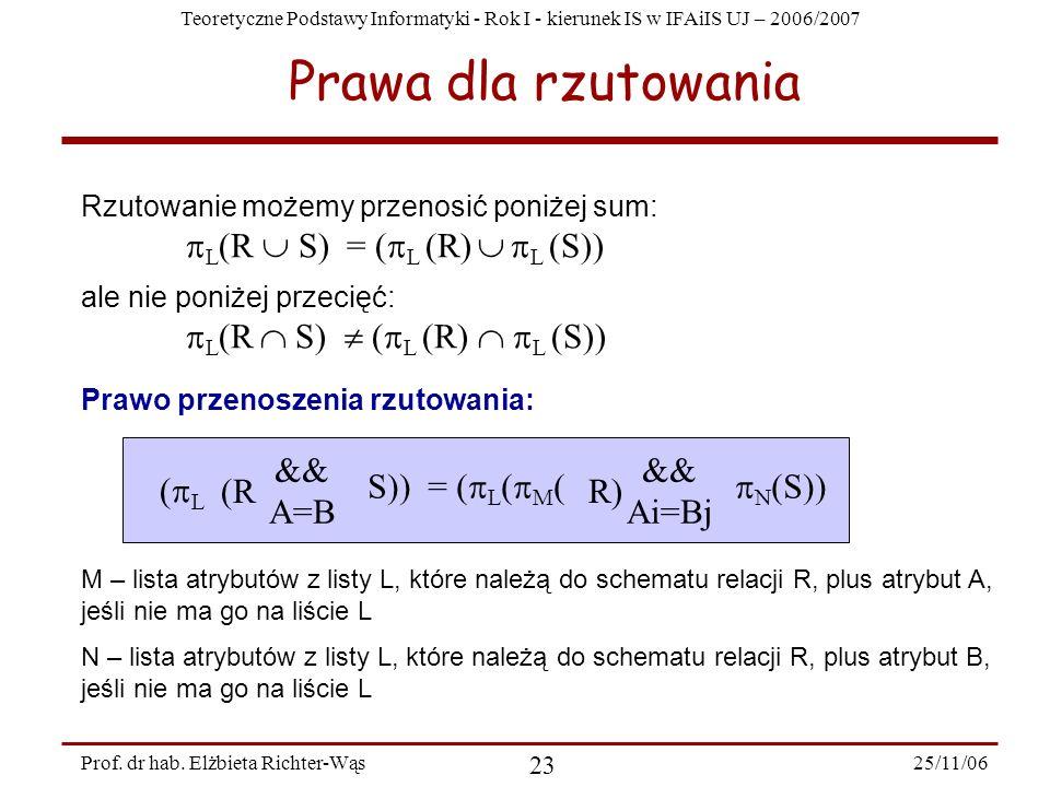 Teoretyczne Podstawy Informatyki - Rok I - kierunek IS w IFAiIS UJ – 2006/2007 25/11/06 23 Prof.