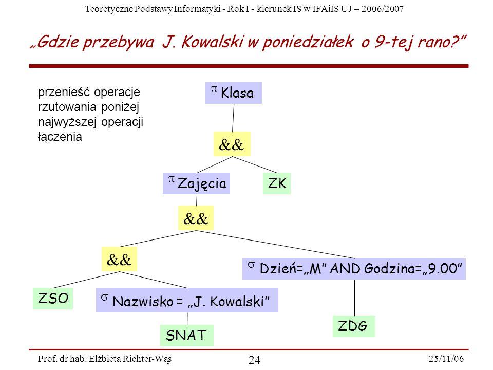 Teoretyczne Podstawy Informatyki - Rok I - kierunek IS w IFAiIS UJ – 2006/2007 25/11/06 24 Prof.