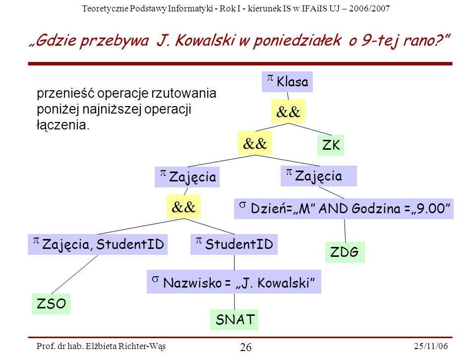 Teoretyczne Podstawy Informatyki - Rok I - kierunek IS w IFAiIS UJ – 2006/2007 25/11/06 26 Prof.