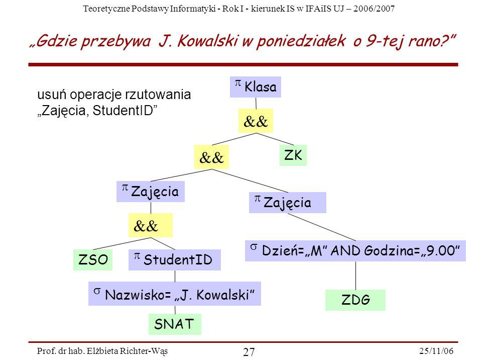 Teoretyczne Podstawy Informatyki - Rok I - kierunek IS w IFAiIS UJ – 2006/2007 25/11/06 27 Prof.