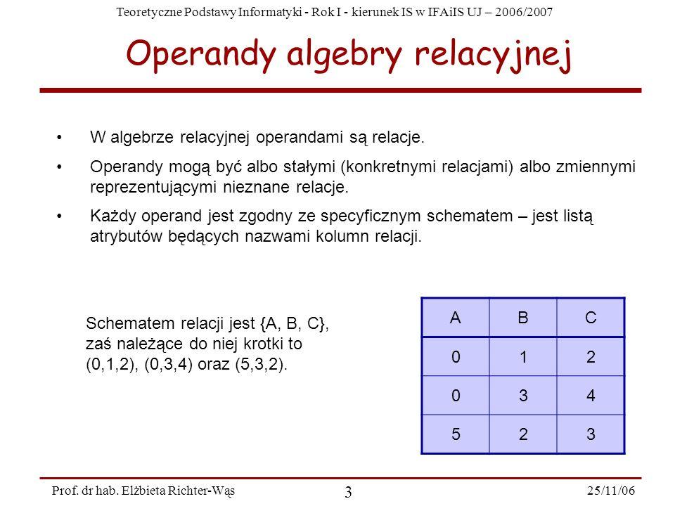 Teoretyczne Podstawy Informatyki - Rok I - kierunek IS w IFAiIS UJ – 2006/2007 25/11/06 3 Prof.