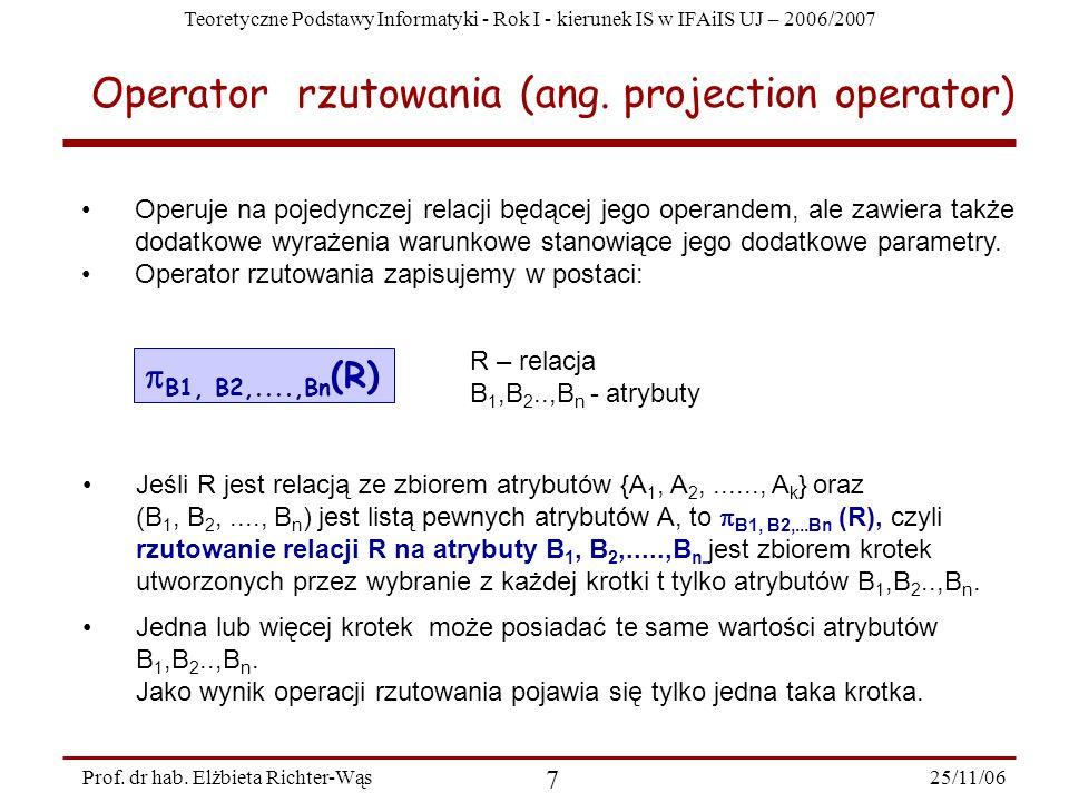 Teoretyczne Podstawy Informatyki - Rok I - kierunek IS w IFAiIS UJ – 2006/2007 25/11/06 7 Prof.