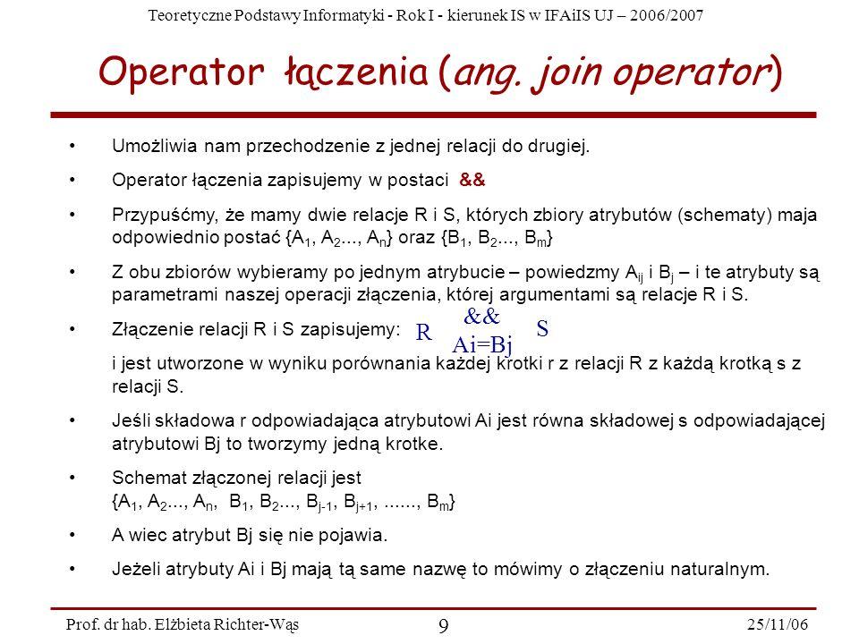 Teoretyczne Podstawy Informatyki - Rok I - kierunek IS w IFAiIS UJ – 2006/2007 25/11/06 9 Prof.