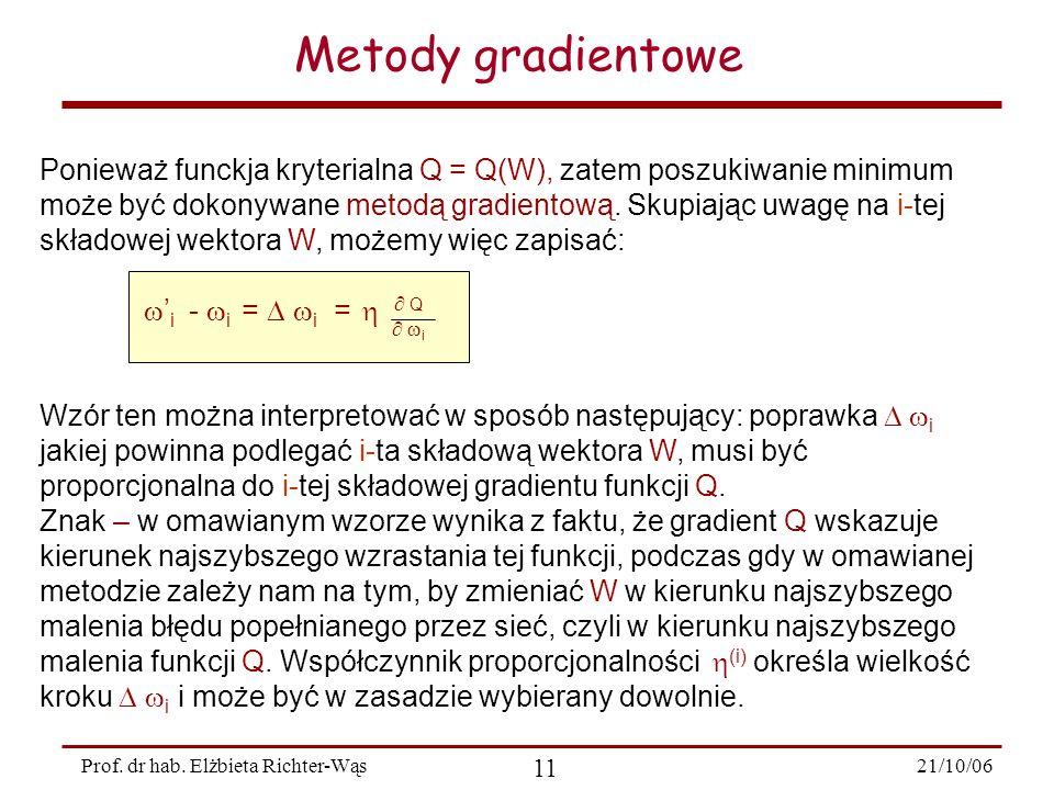 21/10/06 11 Prof. dr hab. Elżbieta Richter-Wąs Ponieważ funckja kryterialna Q = Q(W), zatem poszukiwanie minimum może być dokonywane metodą gradientow
