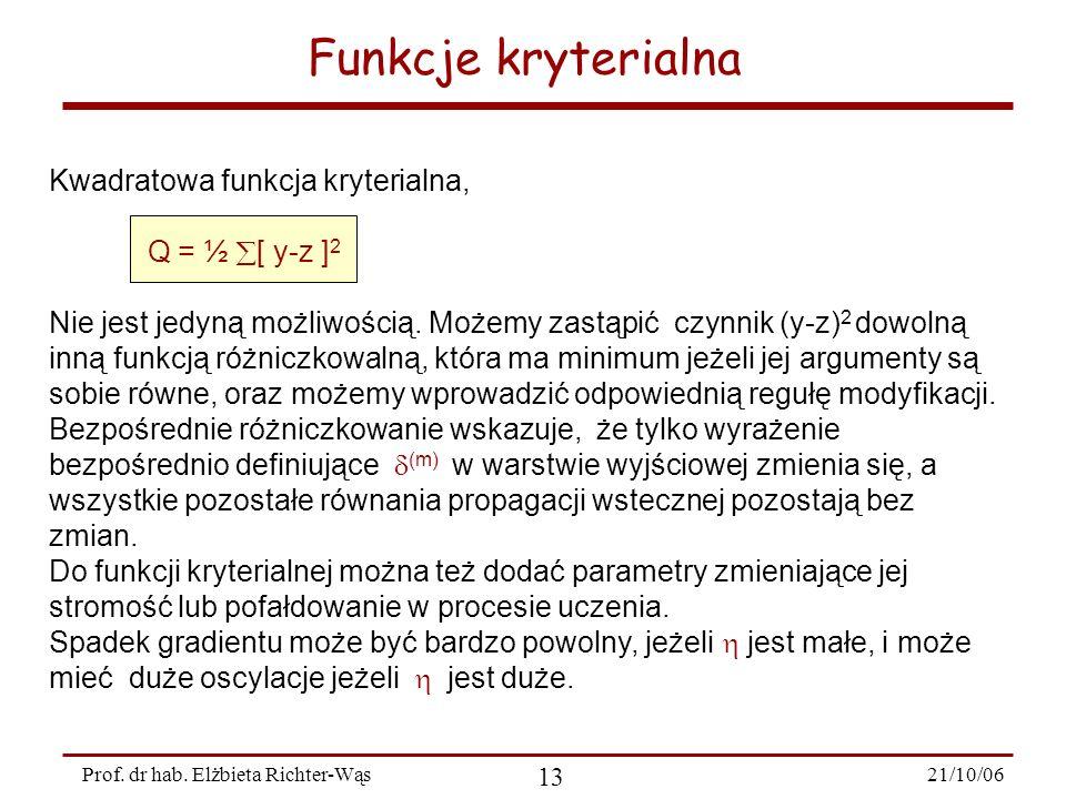 21/10/06 13 Prof. dr hab. Elżbieta Richter-Wąs Kwadratowa funkcja kryterialna, Q = ½ [ y-z ] 2 Nie jest jedyną możliwością. Możemy zastąpić czynnik (y