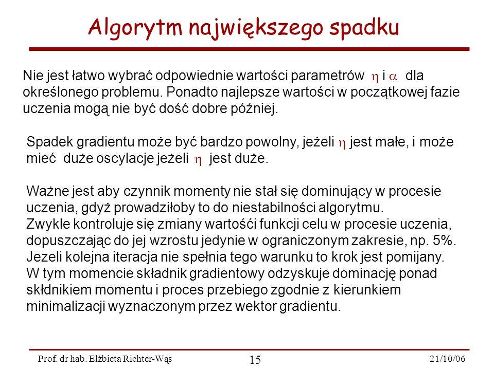 21/10/06 15 Prof. dr hab. Elżbieta Richter-Wąs Algorytm największego spadku Spadek gradientu może być bardzo powolny, jeżeli jest małe, i może mieć du