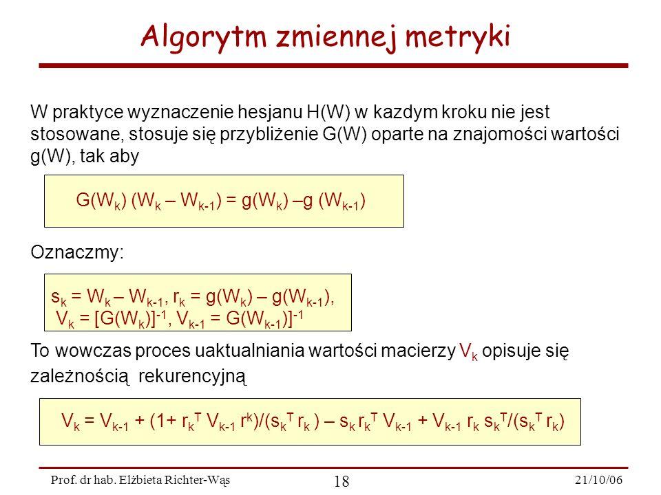 21/10/06 18 Prof. dr hab. Elżbieta Richter-Wąs Algorytm zmiennej metryki W praktyce wyznaczenie hesjanu H(W) w kazdym kroku nie jest stosowane, stosuj