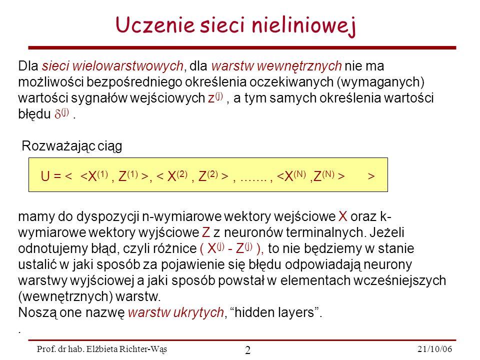 21/10/06 2 Prof. dr hab. Elżbieta Richter-Wąs Uczenie sieci nieliniowej Dla sieci wielowarstwowych, dla warstw wewnętrznych nie ma możliwości bezpośre