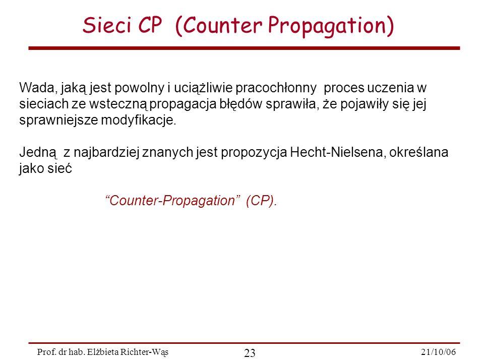 21/10/06 23 Prof. dr hab. Elżbieta Richter-Wąs Sieci CP (Counter Propagation) Wada, jaką jest powolny i uciążliwie pracochłonny proces uczenia w sieci