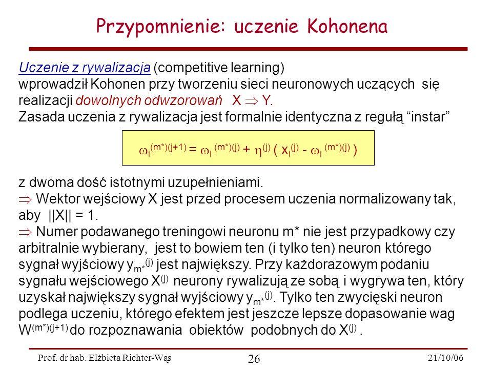 21/10/06 26 Prof. dr hab. Elżbieta Richter-Wąs Przypomnienie: uczenie Kohonena Uczenie z rywalizacja (competitive learning) wprowadził Kohonen przy tw