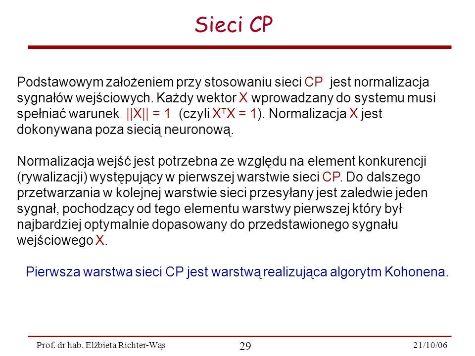 21/10/06 29 Prof. dr hab. Elżbieta Richter-Wąs Sieci CP Podstawowym założeniem przy stosowaniu sieci CP jest normalizacja sygnałów wejściowych. Każdy
