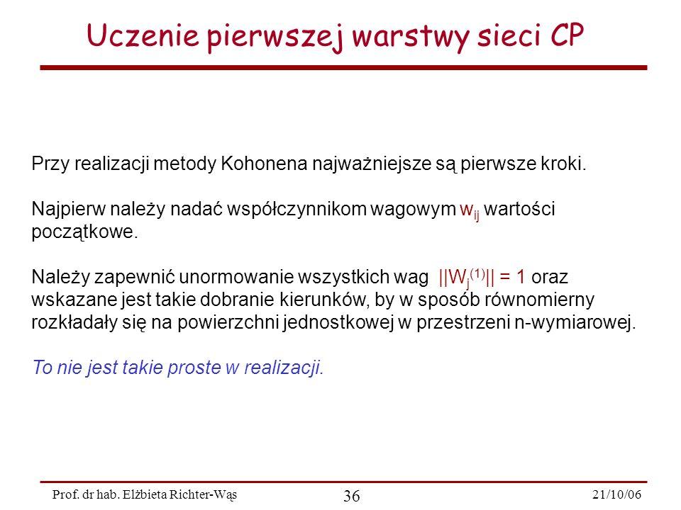 21/10/06 36 Prof. dr hab. Elżbieta Richter-Wąs Uczenie pierwszej warstwy sieci CP Przy realizacji metody Kohonena najważniejsze są pierwsze kroki. Naj