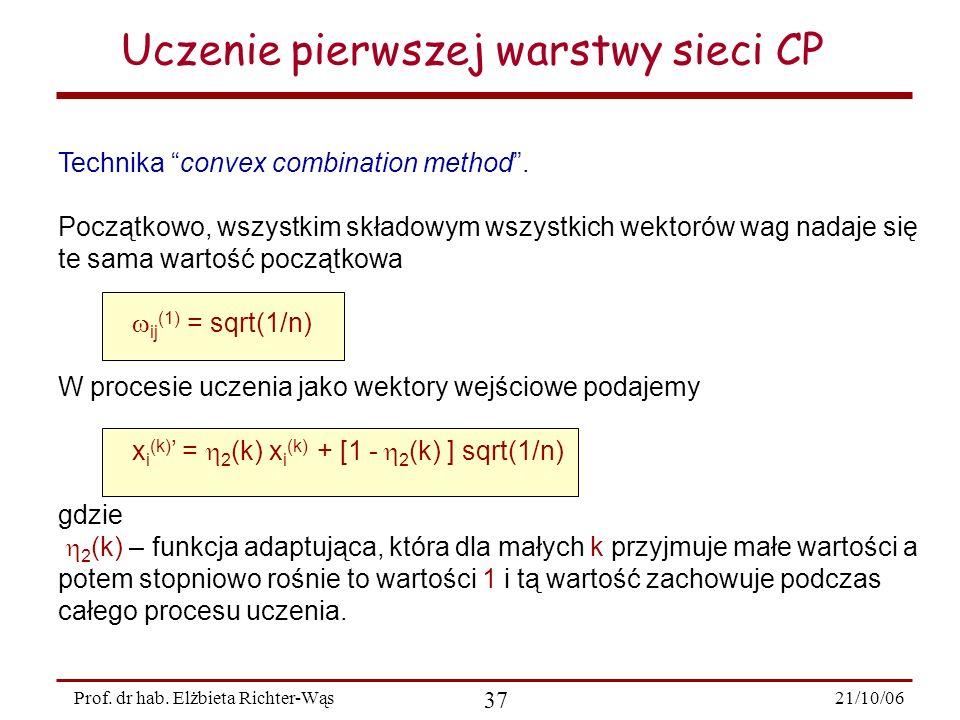 21/10/06 37 Prof. dr hab. Elżbieta Richter-Wąs Uczenie pierwszej warstwy sieci CP Technika convex combination method. Początkowo, wszystkim składowym