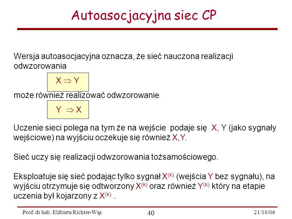 21/10/06 40 Prof. dr hab. Elżbieta Richter-Wąs Autoasocjacyjna siec CP Uczenie sieci polega na tym że na wejście podaje się X, Y (jako sygnały wejścio
