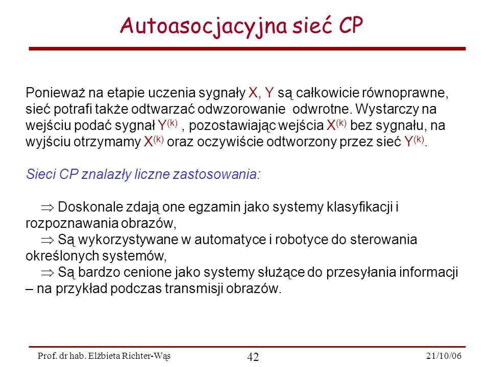 21/10/06 42 Prof. dr hab. Elżbieta Richter-Wąs Autoasocjacyjna sieć CP Ponieważ na etapie uczenia sygnały X, Y są całkowicie równoprawne, sieć potrafi
