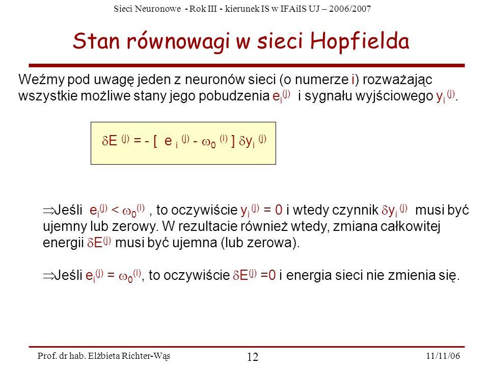 Sieci Neuronowe - Rok III - kierunek IS w IFAiIS UJ – 2006/2007 11/11/06 12 Prof. dr hab. Elżbieta Richter-Wąs Stan równowagi w sieci Hopfielda Weźmy