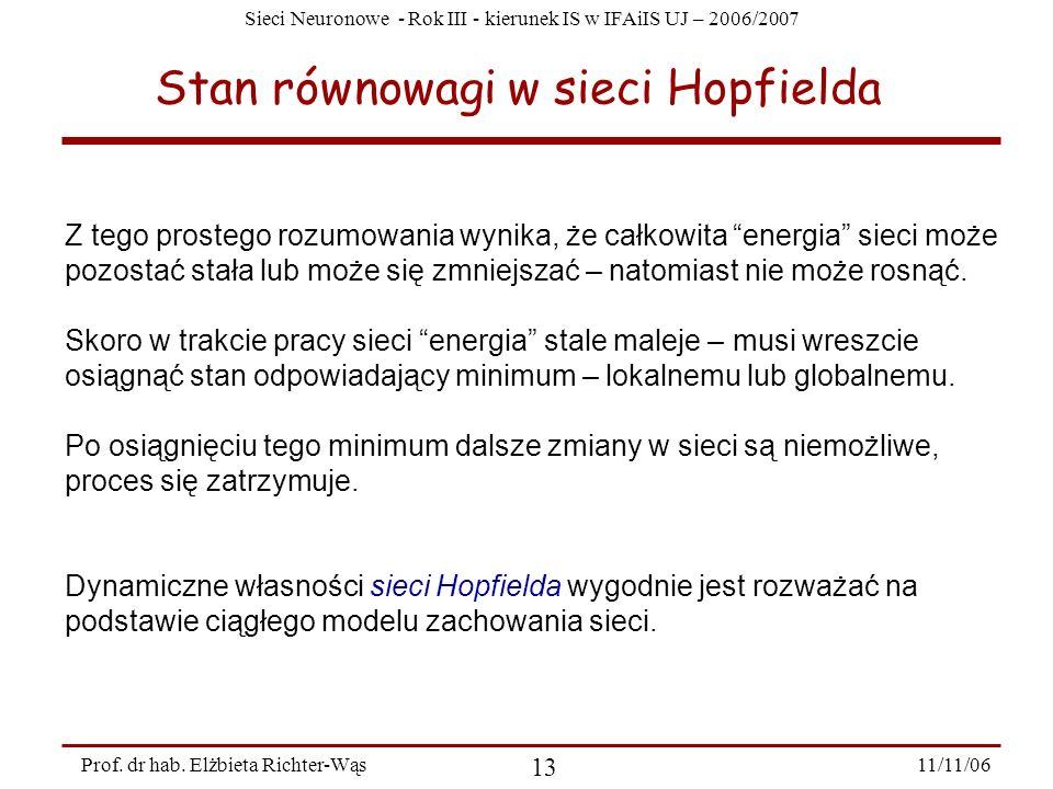 Sieci Neuronowe - Rok III - kierunek IS w IFAiIS UJ – 2006/2007 11/11/06 13 Prof. dr hab. Elżbieta Richter-Wąs Stan równowagi w sieci Hopfielda Z tego