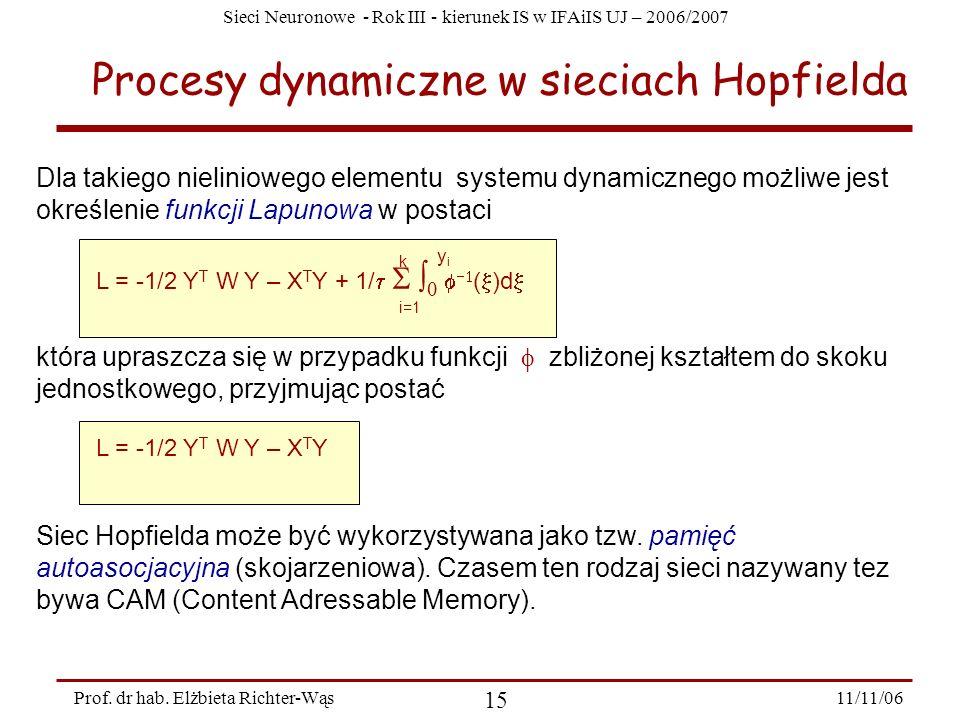 Sieci Neuronowe - Rok III - kierunek IS w IFAiIS UJ – 2006/2007 11/11/06 15 Prof. dr hab. Elżbieta Richter-Wąs Procesy dynamiczne w sieciach Hopfielda