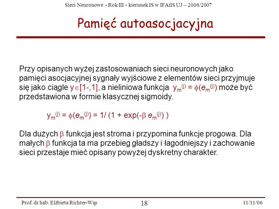Sieci Neuronowe - Rok III - kierunek IS w IFAiIS UJ – 2006/2007 11/11/06 18 Prof. dr hab. Elżbieta Richter-Wąs Pamięć autoasocjacyjna Przy opisanych w