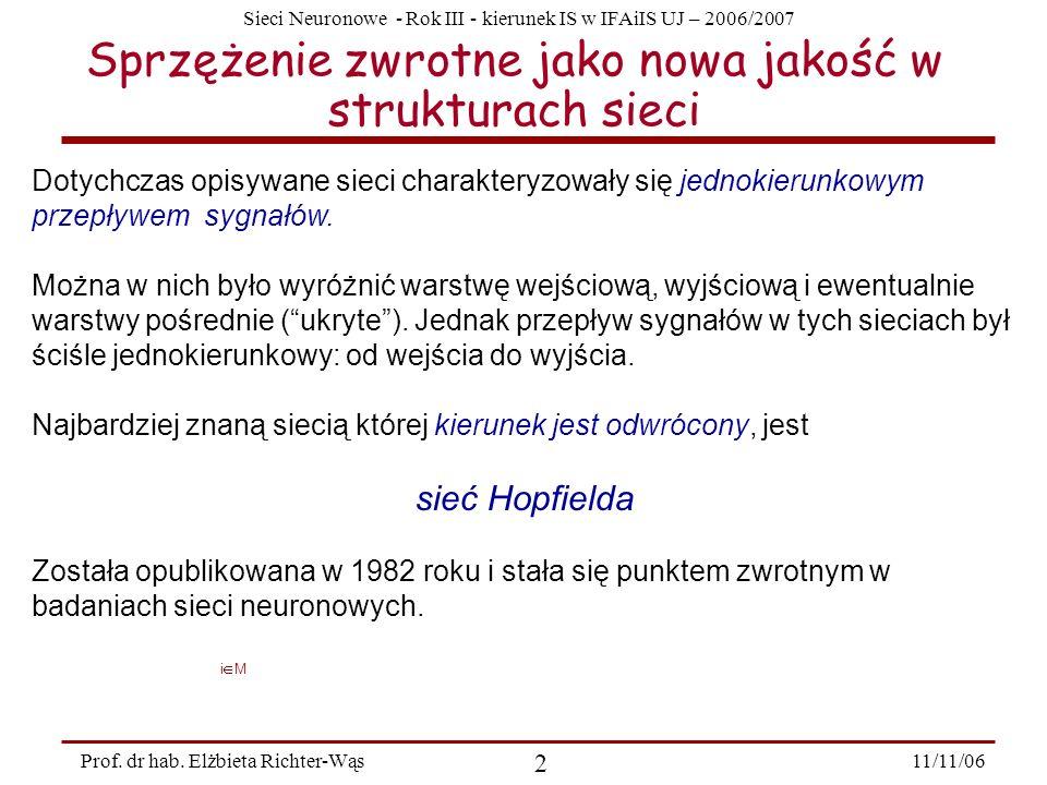 Sieci Neuronowe - Rok III - kierunek IS w IFAiIS UJ – 2006/2007 11/11/06 2 Prof. dr hab. Elżbieta Richter-Wąs Sprzężenie zwrotne jako nowa jakość w st