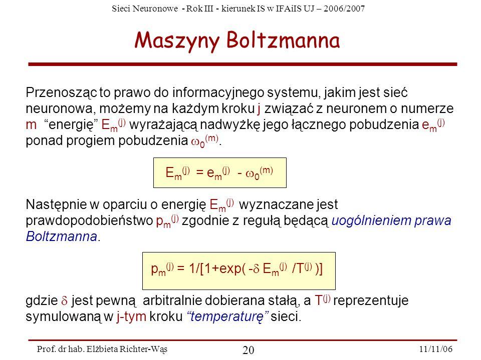 Sieci Neuronowe - Rok III - kierunek IS w IFAiIS UJ – 2006/2007 11/11/06 20 Prof. dr hab. Elżbieta Richter-Wąs Maszyny Boltzmanna Przenosząc to prawo