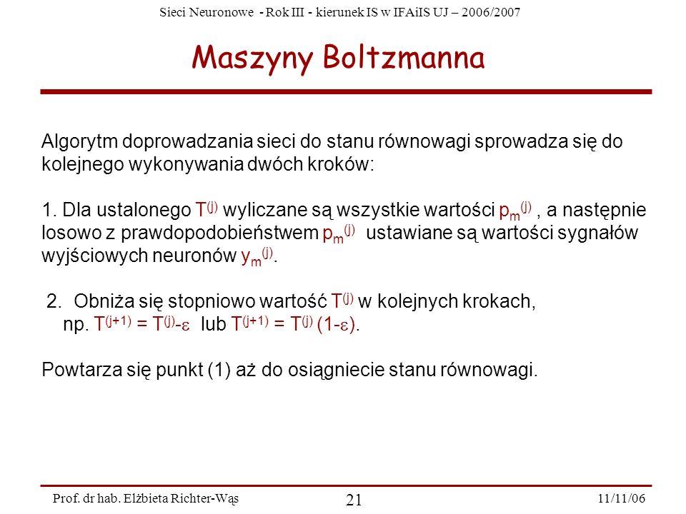 Sieci Neuronowe - Rok III - kierunek IS w IFAiIS UJ – 2006/2007 11/11/06 21 Prof. dr hab. Elżbieta Richter-Wąs Maszyny Boltzmanna Algorytm doprowadzan