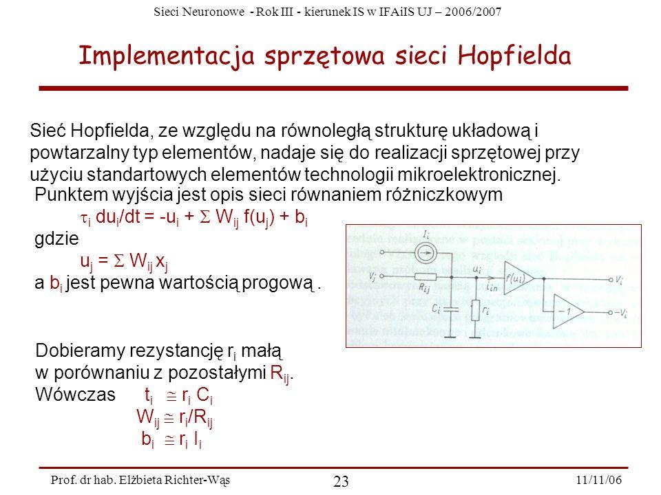 Sieci Neuronowe - Rok III - kierunek IS w IFAiIS UJ – 2006/2007 11/11/06 23 Prof. dr hab. Elżbieta Richter-Wąs Implementacja sprzętowa sieci Hopfielda