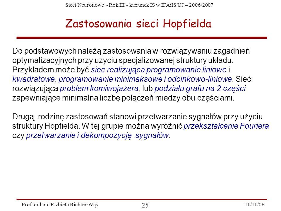 Sieci Neuronowe - Rok III - kierunek IS w IFAiIS UJ – 2006/2007 11/11/06 25 Prof. dr hab. Elżbieta Richter-Wąs Zastosowania sieci Hopfielda Do podstaw
