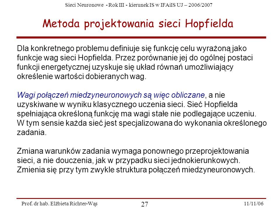 Sieci Neuronowe - Rok III - kierunek IS w IFAiIS UJ – 2006/2007 11/11/06 27 Prof. dr hab. Elżbieta Richter-Wąs Metoda projektowania sieci Hopfielda Dl
