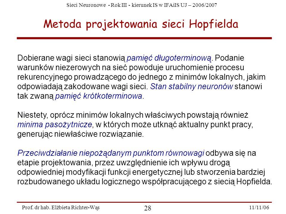 Sieci Neuronowe - Rok III - kierunek IS w IFAiIS UJ – 2006/2007 11/11/06 28 Prof. dr hab. Elżbieta Richter-Wąs Metoda projektowania sieci Hopfielda Do