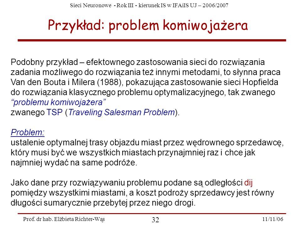 Sieci Neuronowe - Rok III - kierunek IS w IFAiIS UJ – 2006/2007 11/11/06 32 Prof. dr hab. Elżbieta Richter-Wąs Przykład: problem komiwojażera Podobny