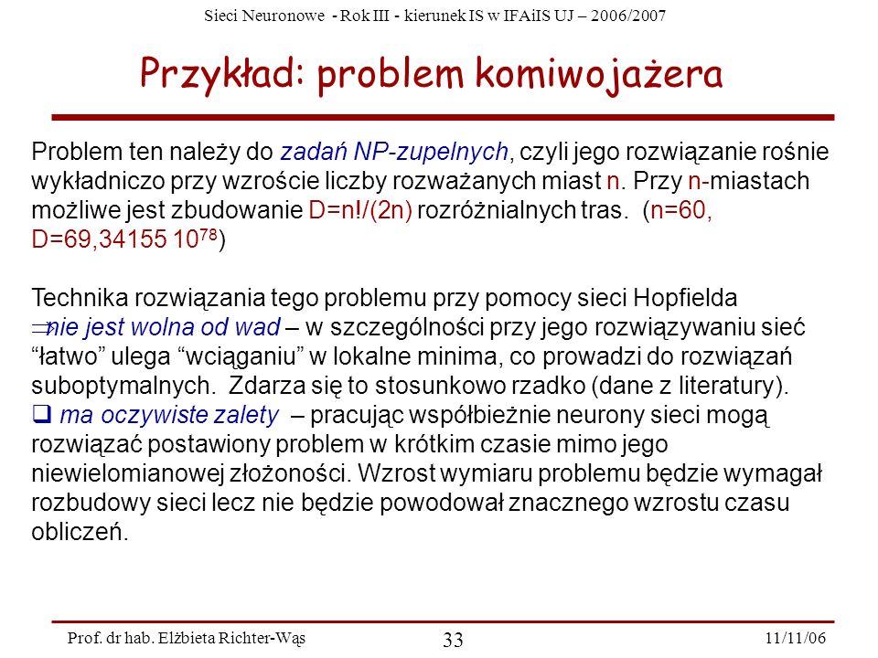 Sieci Neuronowe - Rok III - kierunek IS w IFAiIS UJ – 2006/2007 11/11/06 33 Prof. dr hab. Elżbieta Richter-Wąs Przykład: problem komiwojażera Problem