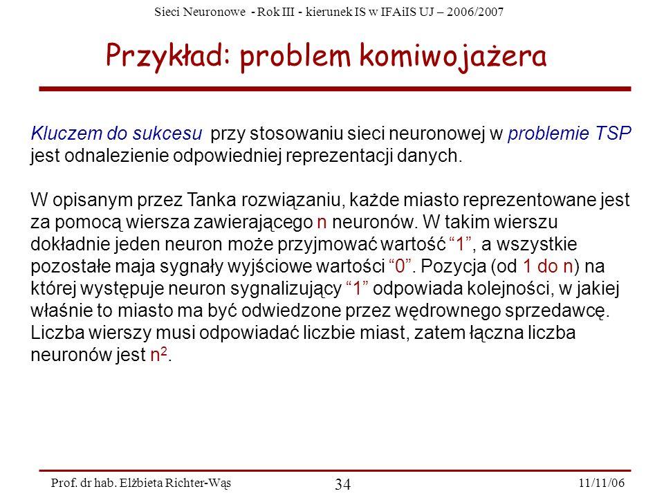 Sieci Neuronowe - Rok III - kierunek IS w IFAiIS UJ – 2006/2007 11/11/06 34 Prof. dr hab. Elżbieta Richter-Wąs Przykład: problem komiwojażera Kluczem